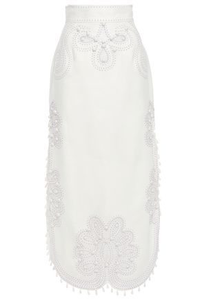 ZIMMERMANN Ninety-Six appliquéd embroidered linen midi skirt