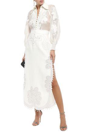 Zimmermann Ninety-six Ric Rac Embellished Burnout Linen-canvas Midi Skirt In White