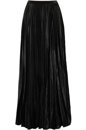 SAINT LAURENT Plissé-velvet maxi skirt