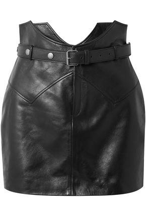 SAINT LAURENT Belted leather mini skirt