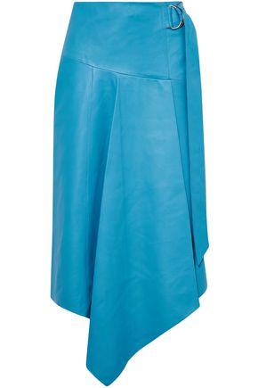 TIBI Asymmetric buckle-detailed leather midi skirt