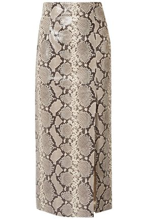 ATTICO Snake-effect leather midi skirt