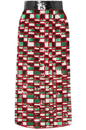 CHRISTOPHER KANE Checked sequined tulle midi skirt