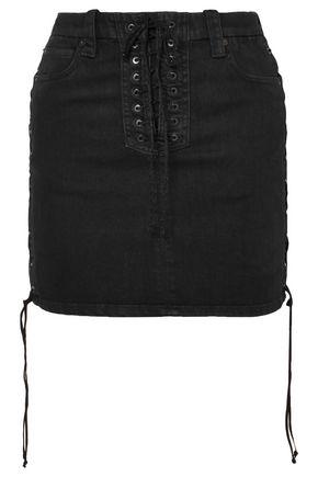 BEN TAVERNITI™ UNRAVEL PROJECT Lace-up denim mini skirt