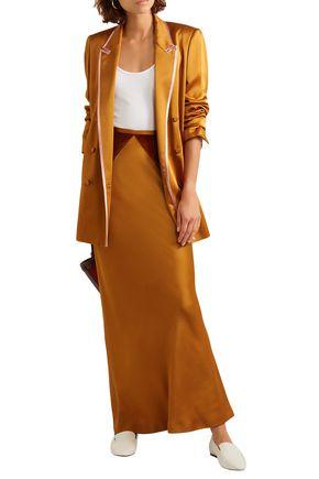 Haider Ackermann Velvet-paneled Satin Maxi Skirt In Copper