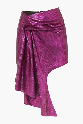 HALPERN Asymmetric sequined tulle mini skirt
