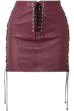 BEN TAVERNITI™ UNRAVEL PROJECT Lace-up leather mini skirt