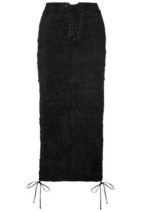 BEN TAVERNITI™ UNRAVEL PROJECT Lace-up suede midi skirt
