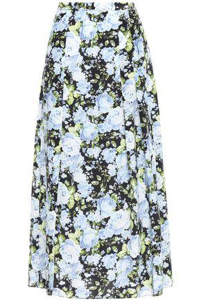 LES RÊVERIES تنورة متوسطة الطول من قماش كريب دي شين الحريري المطبع بالورود مع طيات