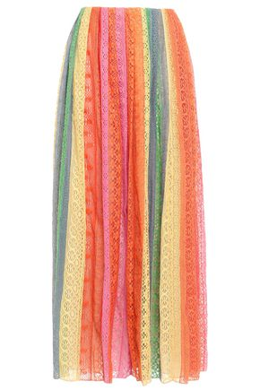 VALENTINO Pleated striped cotton-blend lace maxi skirt