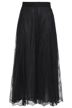 VALENTINO Point d'esprit-trimmed silk-lace midi skirt