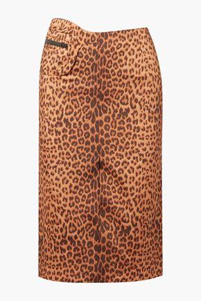 COMMISSION Fanny leopard-print satin-twill skirt