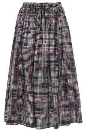 ÊTRE CÉCILE Lulu checked cotton and silk-blend twill midi skirt