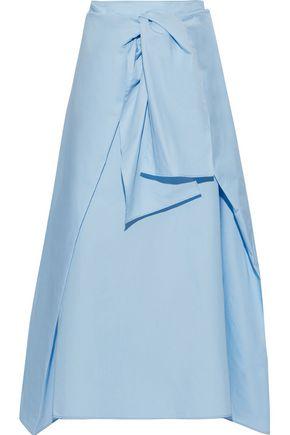 JOSEPH Perrin tie-front cotton and silk-blend poplin midi skirt