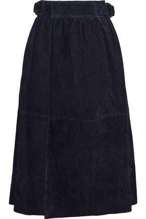 JOSEPH Betty gathered suede midi wrap skirt