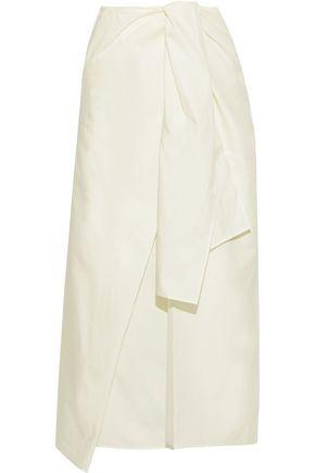 """JOSEPH تنورة متوسطة الطول """"بيرين"""" بتصميم منسدل من مزيج الحرير والقطن مع رباط أمامي"""
