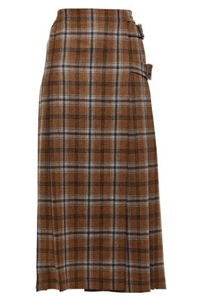 AGNONA Pleated checked wool and cashmere-blend midi skirt