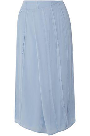 CARVEN تنورة ملتفة من الشيفون الحريري مع طيات