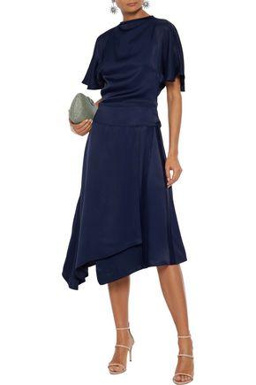 Les HÉroÏnes By Vanessa Cocchiaro The Maya Asymmetric Satin Wrap Skirt In Navy