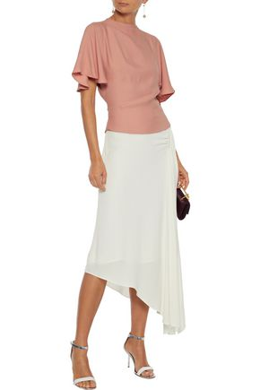 Les HÉroÏnes By Vanessa Cocchiaro The J.k Asymmetric Ruched Washed-crepe Midi Skirt In White