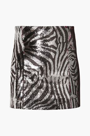 HALPERN Sequined zebra-print satin mini skirt