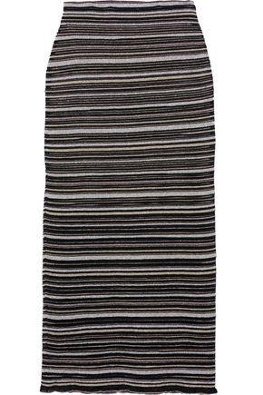 HERVÉ LÉGER Metallic striped mesh midi pencil skirt