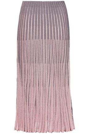 CEDRIC CHARLIER Metallic ribbed-knit midi skirt