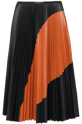 CEDRIC CHARLIER Pleated two-tone faux leather midi skirt