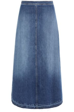 PHILOSOPHY di LORENZO SERAFINI Frayed faded denim midi skirt