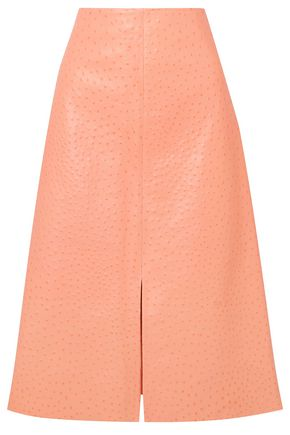 MARNI Ostrich-effect leather midi skirt