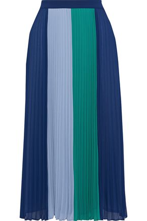 IRIS & INK Clementine pleated color-block crepe de chine midi skirt