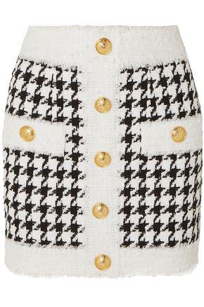 BALMAIN ボタン付き ハウンドトゥースツイード ミニスカート