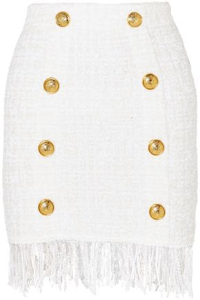 BALMAIN Button-embellished fringed bouclé mini skirt