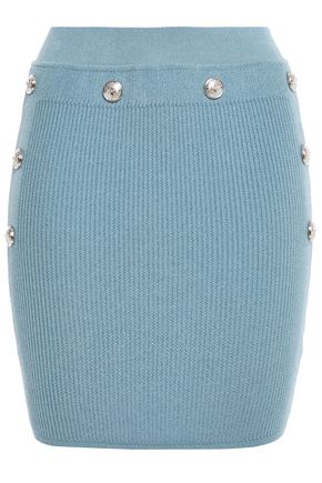 BALMAIN Button-embellished ribbed-knit mini skirt