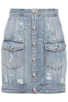 BALMAIN ボタン&クリスタル付き ダメージ加工デニム ミニスカート