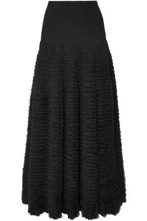 ALAÏA Ruffled stretch-knit midi skirt