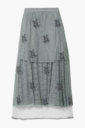 STELLA McCARTNEY Embroidered tulle--paneled corded lace midi skirt