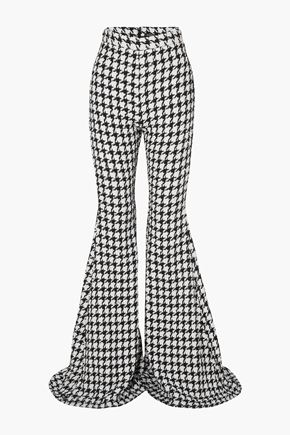 BALMAIN Houndstooth cotton-blend tweed flared pants