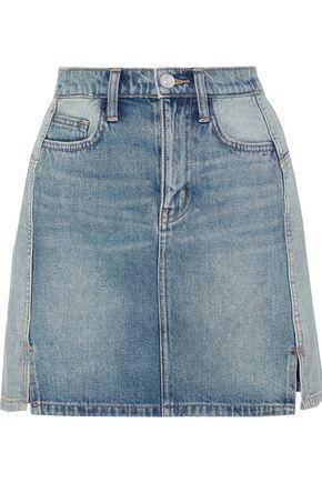 CURRENT/ELLIOTT The Reversed distressed two-tone denim mini skirt