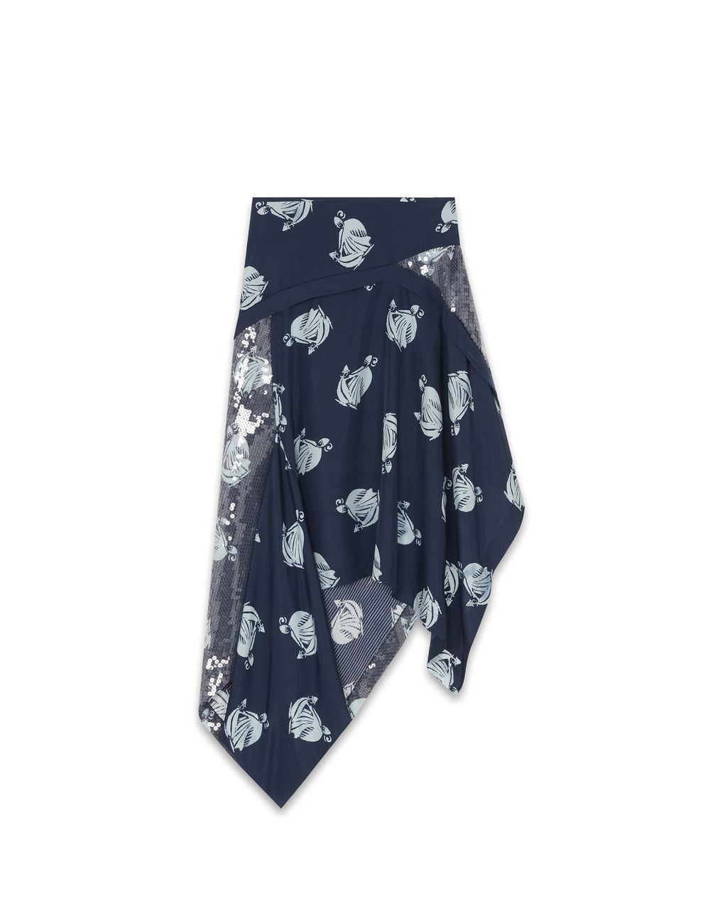 MOTHER AND CHILD LOGO ASYMMETRIC SKIRT WITH SEQUINS - Lanvin