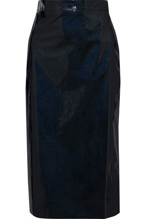 AINEA Crinkled faux patent-leather wrap skirt