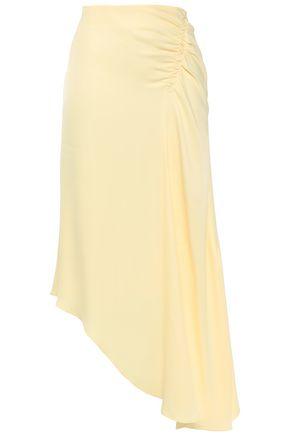 LES HÉROÏNES by VANESSA COCCHIARO تنورة متوسطة الطول غير متماثلة وبتصميم ملموم من قماش كريب دي شين