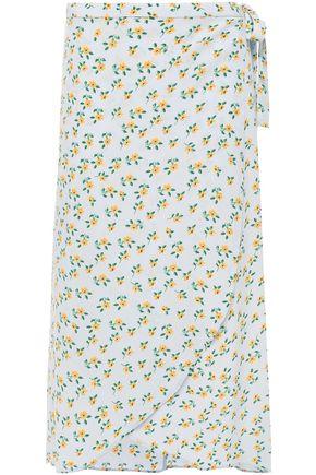 byTIMO تنورة ملتفة متوسطة الطول غير متماثلة من الكريب المطبع بالورود