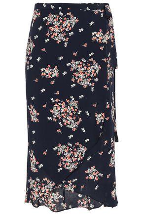 byTIMO Asymmetric floral-print crepe midi wrap skirt