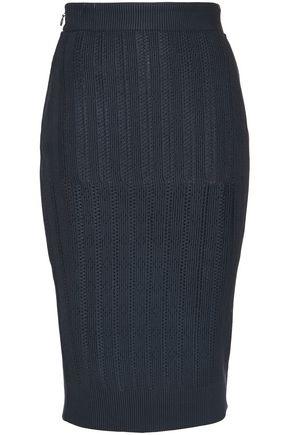 HERVÉ LÉGER Pointelle-trimmed stretch-knit pencil skirt