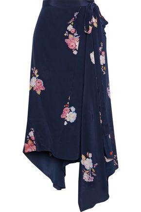 "PREEN LINE تنورة ملتفة ""ريجينا"" غير متماثلة من قماش كريب دي شين المطبع بالورود"