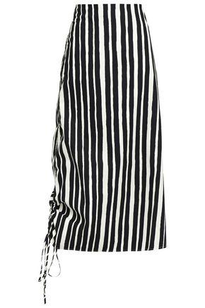 BEAUFILLE Asymmetric gathered striped cotton-poplin midi skirt