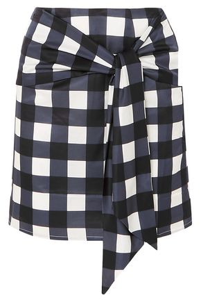 MOTHER OF PEARL Tie-front checked cotton and silk-blend mini skirt
