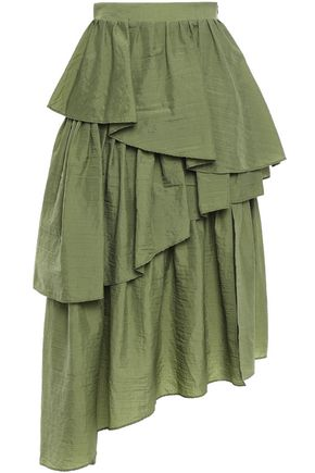 HOUSE OF HOLLAND Rip Stop asymmetric tiered shell midi skirt