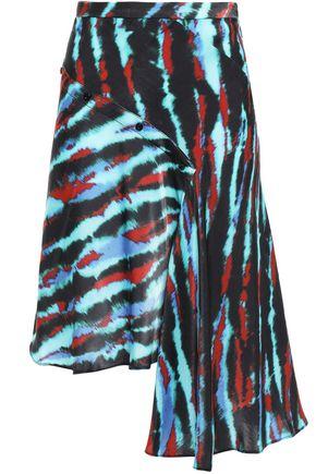 HOUSE OF HOLLAND Asymmetric tie-dyed satin mini skirt